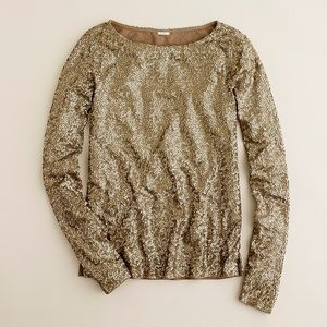 NWT J. Crew Glimmer Tee Long Sleeved Gold Medium